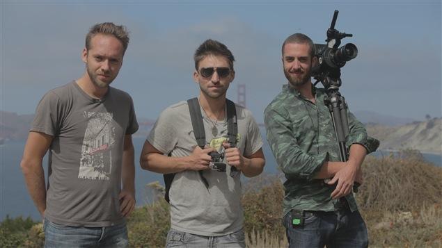 Les trois artisans principaux de la série documentaire <i>Volteface</i> : le directeur photo, monteur et coréalisateur Philippe Bellemare, le cénariste et assistant à la réalisation Olivier Donati et le concepteur, coréalisateur et scénariste Martin Amiot