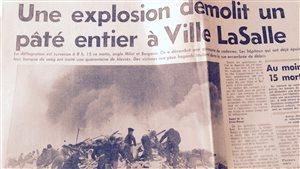 Manchette du journal La Presse du 1er mars 1965 sur l'explosion à LaSalle Heights