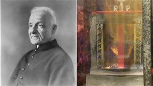 À droite, le frère André immortalisé et à gauche, la relique de son coeur.