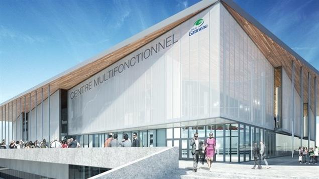 Une vue d'artiste du futur centre multifonctionnel de Gatineau