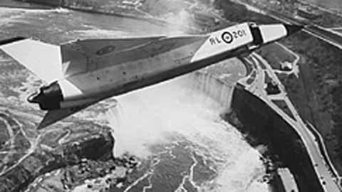The beautiful Avro Arrow above Canada's Niagara (Horseshoe) Falls on one of its test flights.