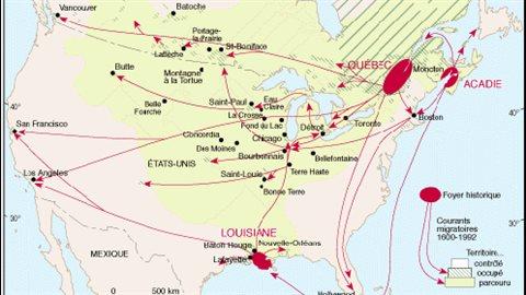 Carte des déplacements des francophones en Amérique du Nord depuis 400 ans - Université Laval de Québec.