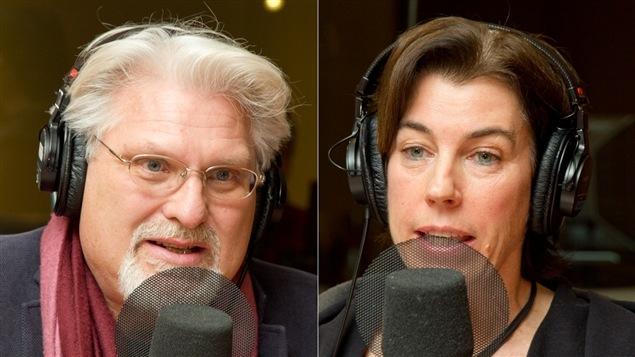 L'auteur, éditeur et animateur Jean Barbe et la présidente-directrice générale de Vélo Québec, Suzanne Lareau