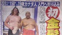 Un géant blond de Victoria parmi les lutteurs sumos d'élite du Japon