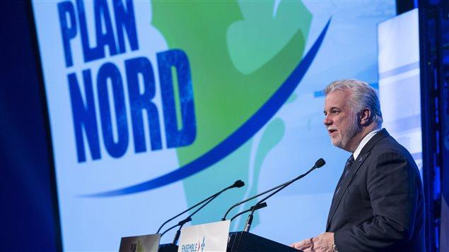 Le premier ministre Philippe Couillard lors de la présentation du nouveau Plan Nord en avril 2015