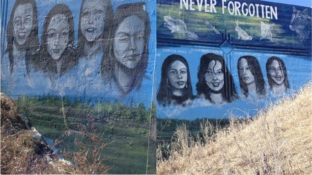 Murale représentant des femmes autochtones disparues ou assassinées à Winnipeg.