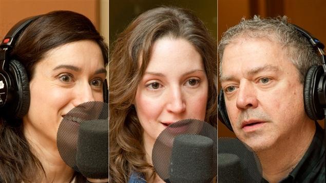 La recherchiste Barbara-Judith Caron, la réalisatrice Sandra Rodriguez et le recherchiste Sylvain Houde
