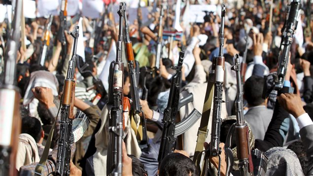 Followers of the Houthi group demonstrate against an arms embargo imposed by the U.N. Security Council on the group in Sanaa April 16, 2015.