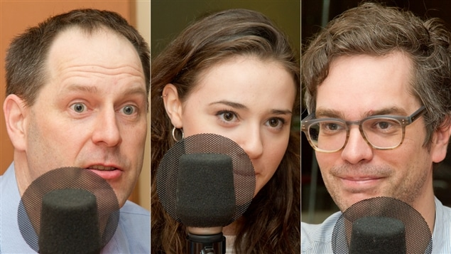 L'historien et journaliste Jean-François Nadeau, la comédienne Karelle Tremblay  et le réalisateur Mathieu Denis