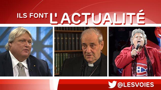 Gaétan Barrette,  cardinal Jean-Claude Turcotte, Ginette Reno.