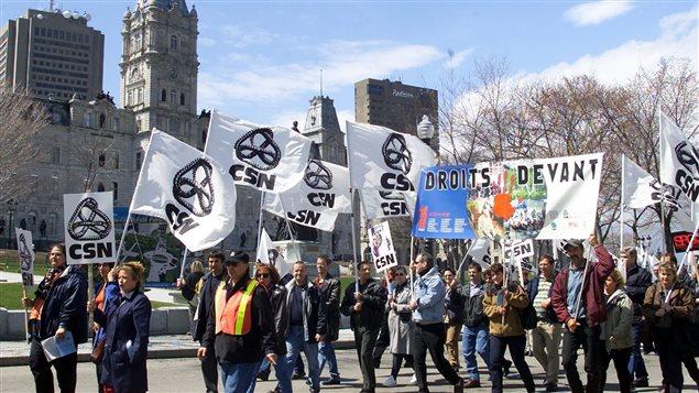 Une manifestation à Québec à l'occasion du 1er mai