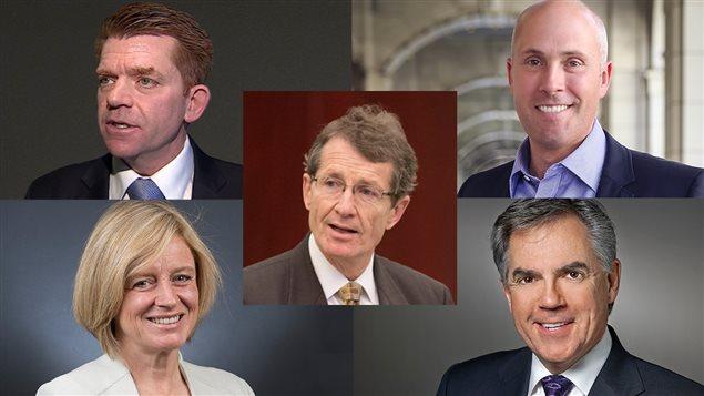 Brian Jean, chef du parti Wildrose; Greg Clark, chef du Parti albertain; David Swann, chef du Parti libéral; Rachel Notley, chef du Nouveau Parti démocratique; Jim Prentice, chef du Parti progressiste-conservateur.