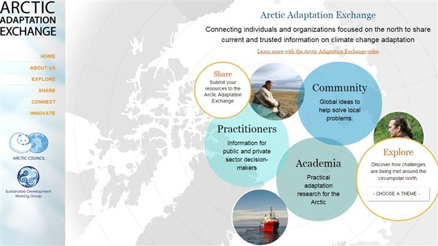 Page d'accueil du site Arctic Adaptation Exchange.