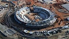Le stade de tennis des Jeux de Rio, en construction en février 2015