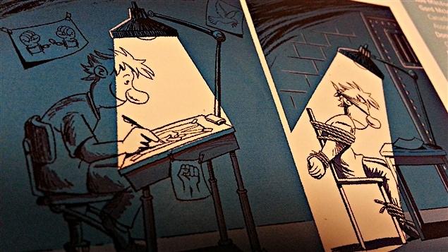 15e concours international de dessin éditorial du Conseil canadien pour la liberté de la presse mondiale. Le dessin de l'Iranien Ebrahim Ghanei. (30-04-15)