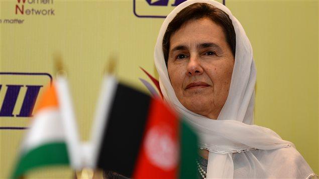 Rula Ghani, la première dame d'Afghanistan surnommée Bibi Gul, en avril 2015 lors d'une conférence à New Delhi.