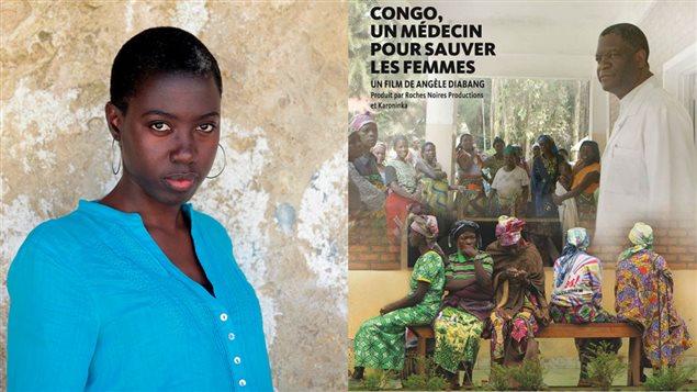 La documentariste Angèle Diabang et l'affiche de son film Congo, un médecin pour sauver les femmes