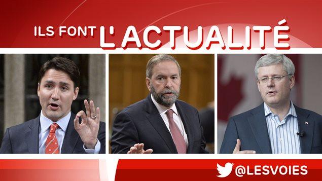 Justin Trudeau, Thomas Mulcair et Stephen Harper