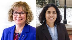 La candidate conservatrice Linda Johnson (à gauche) et la candidate néo-démocrate Anam Kazim (à droite) ont obtenu le même nombre de votes dans Calgary-Glenmore.
