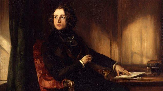Détail d'un portrait de Charles Dickens en 1839, par Daniel Maclise