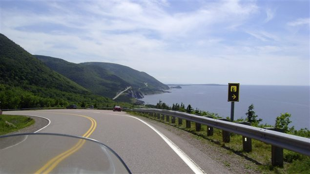 The Cabot Trail, one of the great drives in the world, this is a view of the road along the eastern coast of Cape Breton Island, Nova Scotia.
