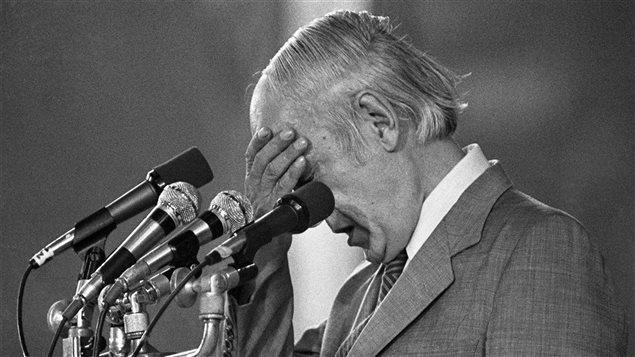 René Lévesque après la défaite lors du référendum de 1980