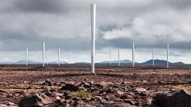 Les prototypes d'éoliennes sans pales d'une entreprise espagnole, Vortex Bladeless.