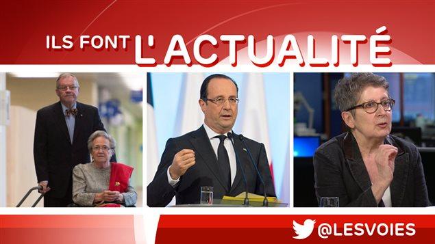 Réal Cloutier, François Hollande et Lise Bissonnette