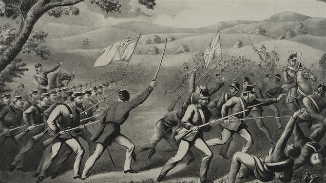 Des rebelles fénians lors de la bataille de Ridgeway, en Ontario, en 1866.