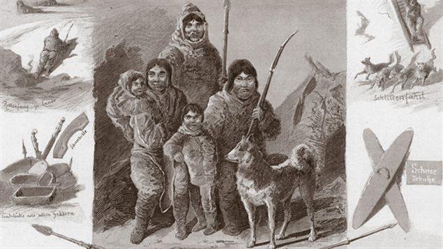 Section de l'affiche utilisée en 1880 par le Carl Hagenbeck's Thierpark pour annoncer la présence des Inuits.