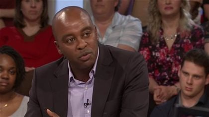 Francois Bugingo during an appearance on the very popular weekly Quebec talk show Tout le Monde en Parle. He says he will take the time necessary before responding to the doubts about his reporting and other claims dating as far back as 1993