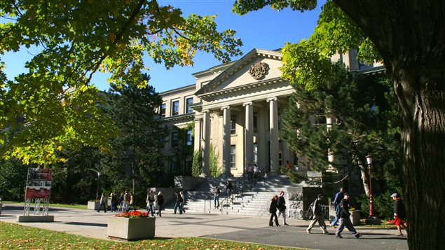 The century old neo-classical Tabaret Hall at the Univeristy of Ottawa. The university has a number of buildings ranging from modern to ultra-modern located near the scenic Rideau Canal