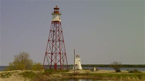 Hecla Lighthouses at Gull Harbour, Lake Winnipeg, Manitoba. The original lighthouse was built in 1898. The taller tower came 30 years later.