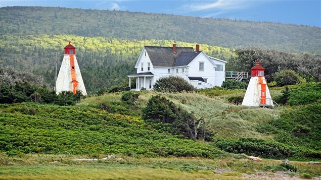 Cape Breton Nova Scotia, photo from 2011 shows the Margaree Harbour Range Lights, over 100 years old. Questions over environmental cleanup hang over the fate of these historic structures