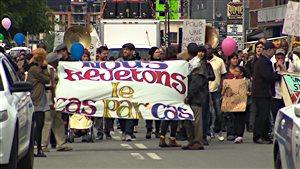 La manifestation a rassemblé environ 300 personnes dans les rues de Montréal.