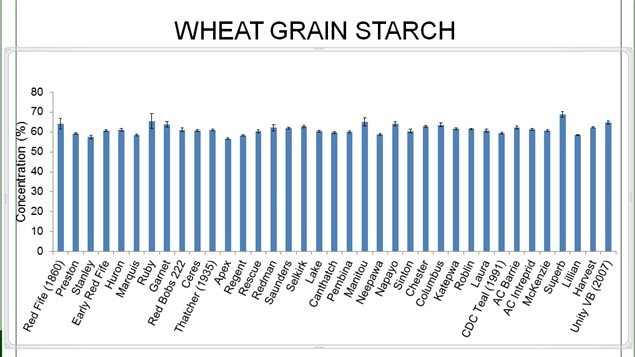 Analysis of a variety of heritage and modern wheat starch shows very little differece over more than a century with starch concentration varied from 56 % (Apex 1937) to 69% (Superb 2001)