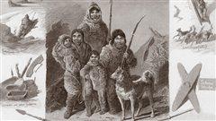 Section de l'affiche utilisée en 1880 par le Carl Hagenbeck's Thierpark pour annoncer la présence des Inuits