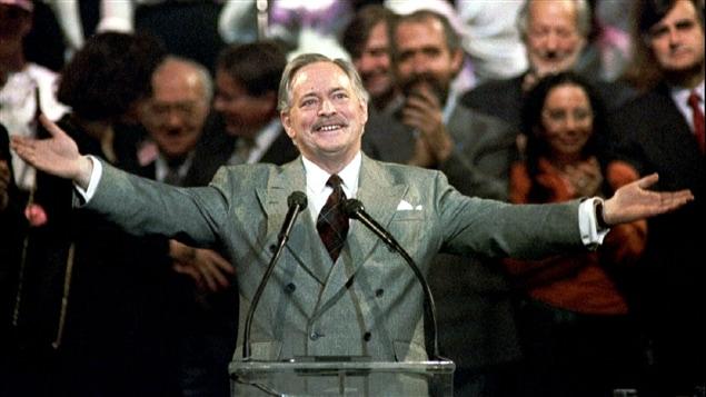 Jacques Parizeau, en 1992, lors de la campagne référendaire sur l'accord constitutionnel de Charlottetown