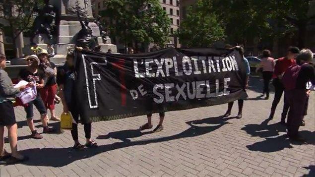 Manifestation contre l'exploitation sexuelle lors du Grand Prix du Canada