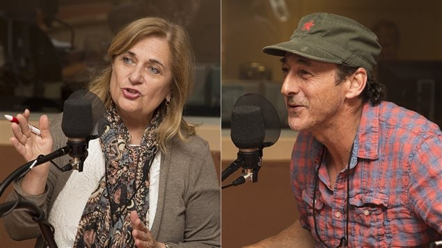La journaliste Nathalie Petrowski et le comédien Luc Picard
