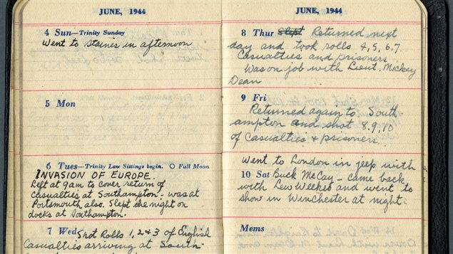 Sgt Hugh McCaughey's diary showing June 6, 1944, when he recorded the first casualties of the invasion returning to Southhampton Docks in London