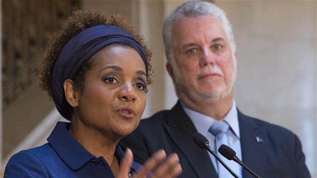 La secrétaire générale de l'Organisation internationale de la Francophonie (OIF) Michaelle Jean et le premier ministre Philippe Couillard
