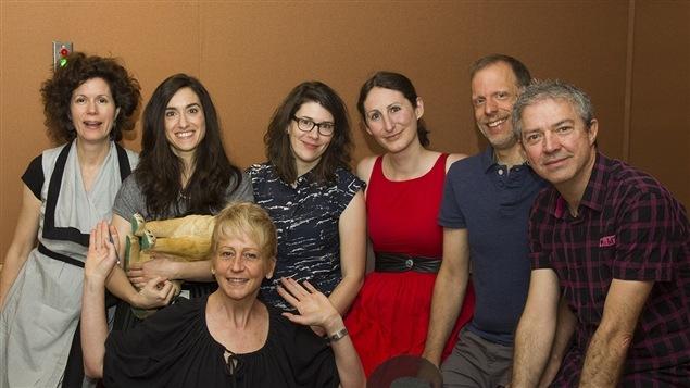 De gauche à droit et de haut en bas : Catherine Perrin, Barbara-Judith Caron, Sophie Laforest, Églantine Pandelé, Jean-François Blais, Sylvain Houde et Dominique Depatie