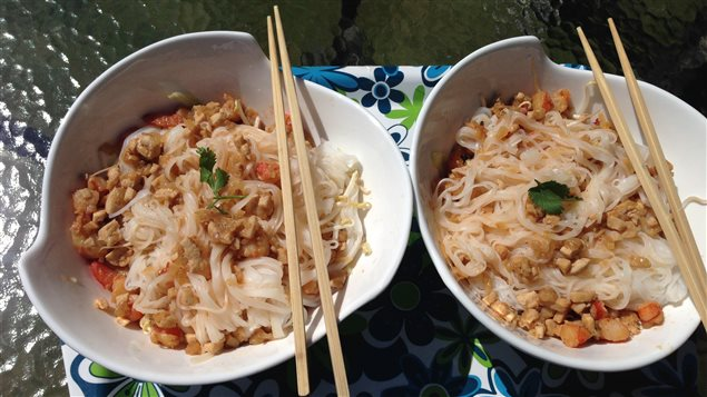 Salade vietnamienne façon Chhor-Huy Priolet Té : pâtes de riz, crevettes et poulet