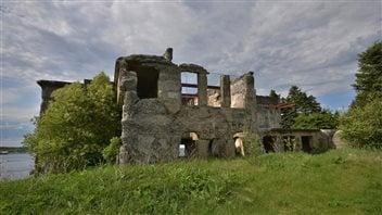 The ruins of pulp mill lies near Campbellton, Newfoundland.