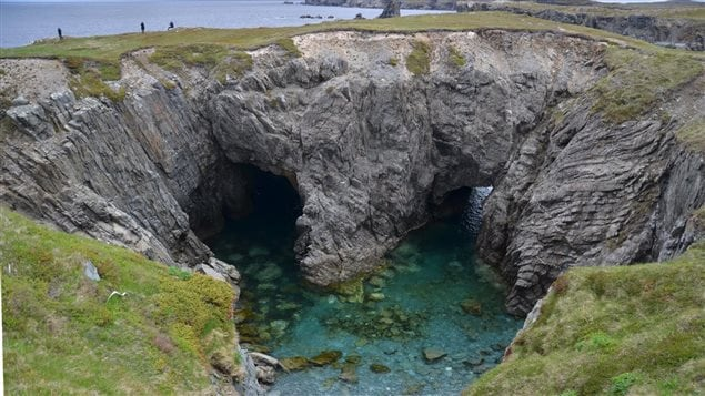 A collapsed sea cave is located in Dungeon Provincial Park on Newfoundland's east coast.