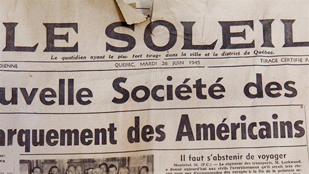 La une du journal Le Soleil du 26 juin 1945