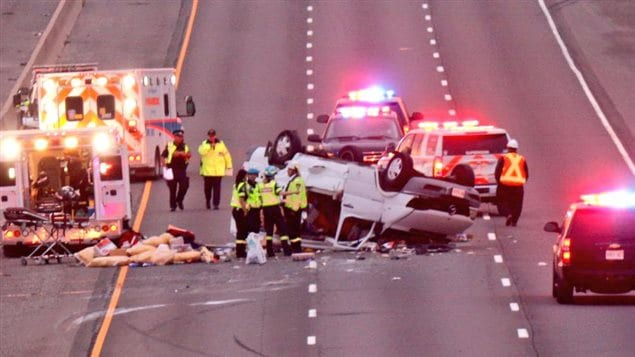 L'accident est survenu sur l'autoroute 401 près de la route Trafalgar.
