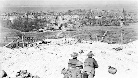 Canadian soldiers who fought for the first time as a unifed army under a Canadian commander, look out from the crest of Vimy Ridge which they took after French and British attempts had failed with massive losses. Vimy Ridge is seen as a decisive moment in creating a Canadian national unitry and pride.