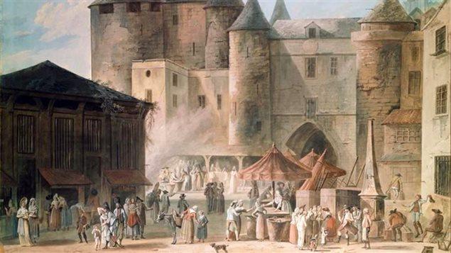 Détail du tableau <em>Le Grand Châtelet</em> de Thomas Charle Naudet (1802)